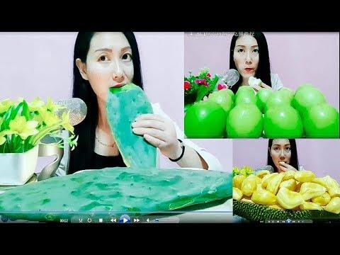 TKTV   Ăn xương rồng, táo xanh, mít thái để thu âm thanh   ASMR eating sound Cactus