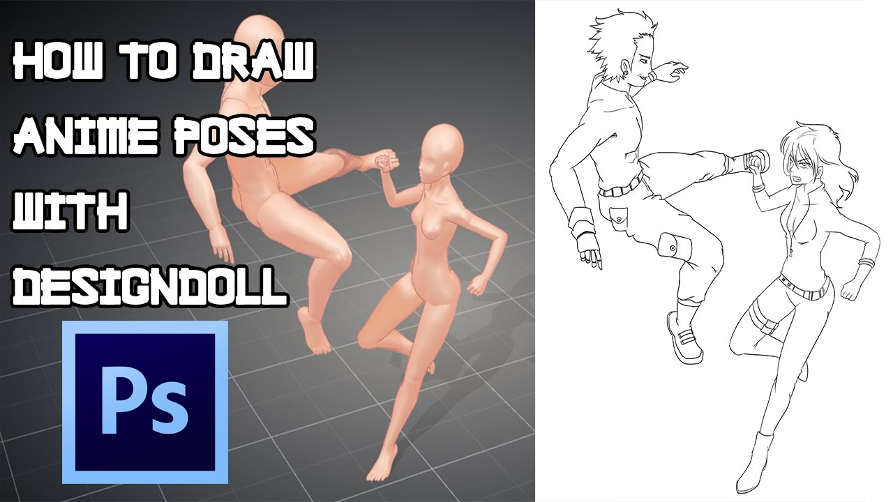 How to draw anime poses with designdoll photoshop tutorial 2 youtube
