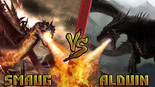 Смауг (Хоббит) vs Алдуин (Скайрим) /Smaug (Hobbit) vs Alduin (Skyrim) - Кто Кого? [bezdarno]