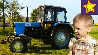 Про трактор. Синий трактор косит траву. Видео для детей  Kids video about tractor