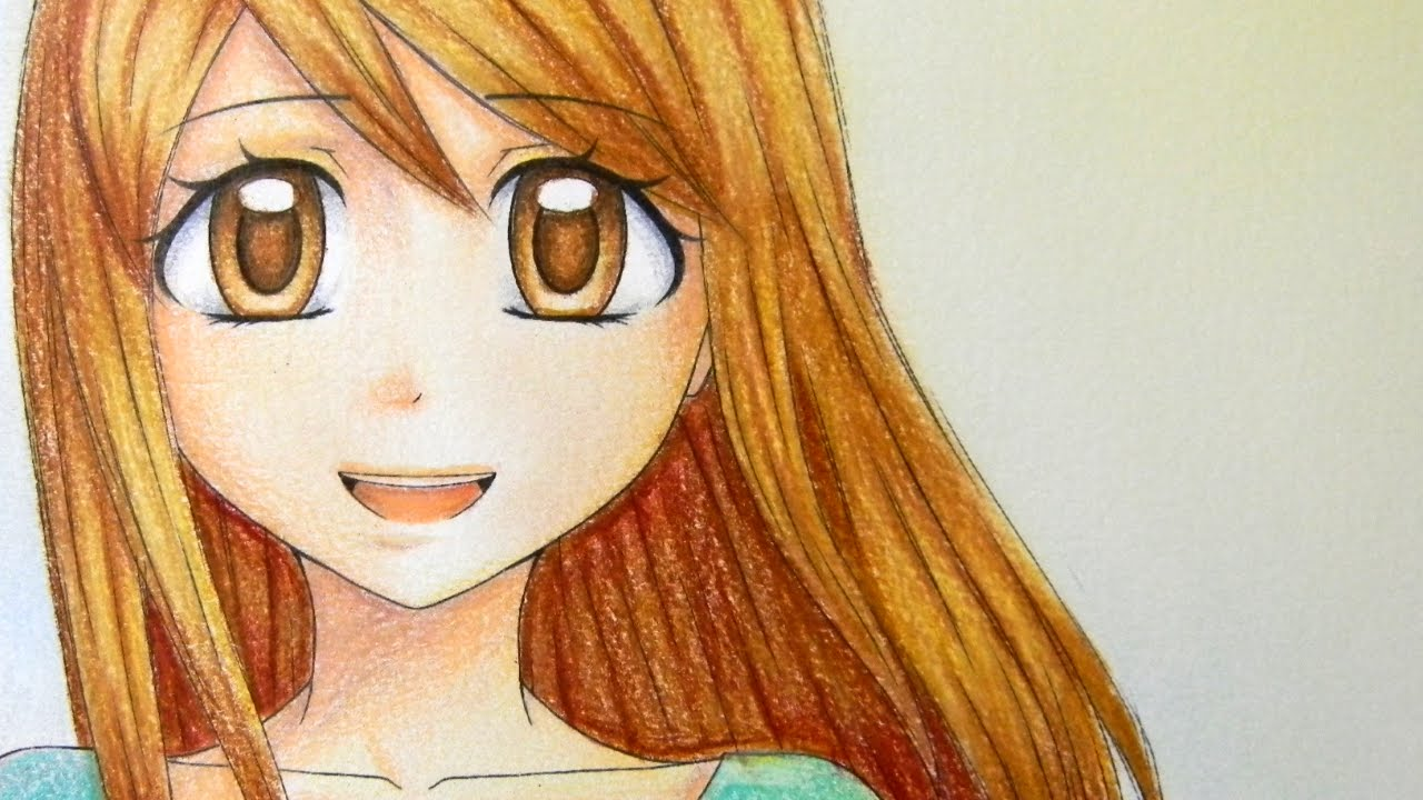 Coloring A Manga Girl With Colored Pencils Youtube