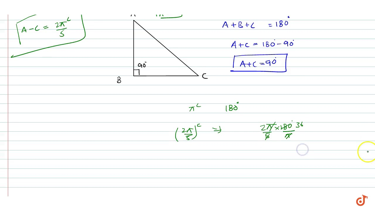 The difference between the two acute angles of a right angled triangle is  ltmath gt ltmro