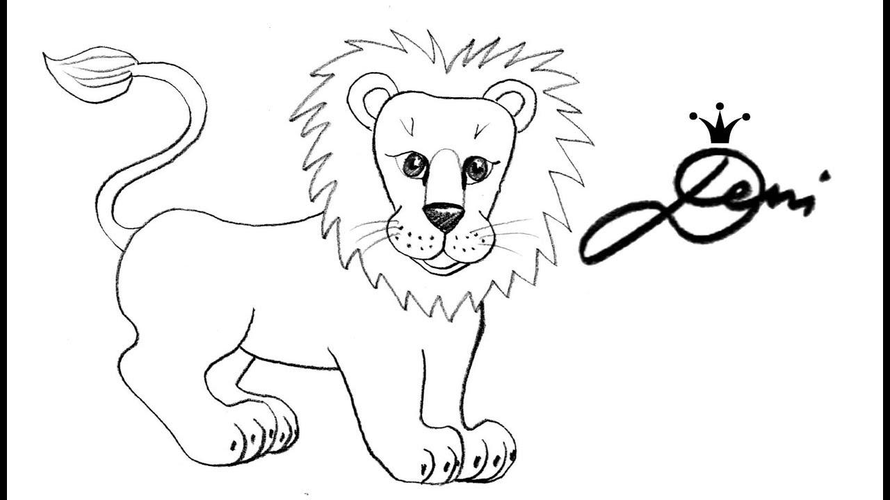 🦁 Löwe schnell zeichnen lernen 🦁 Tiere, Zoo 🦁 how to draw