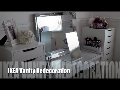 Ikea Vanity Redecoration And Makeup Organization Youtube