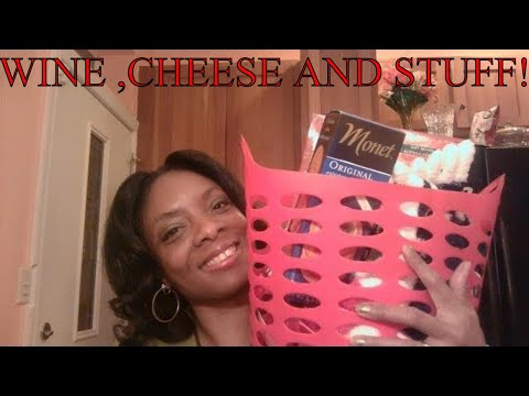 Wine and Cheese Basket featuring Dollar Tree items!!!!