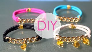 DIY- GOLD BRACELETS USING HAIR ELASTICS! Thumbnail