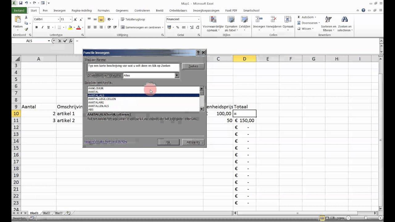 Sjabloon 06 Factuur In Excel Deel 1