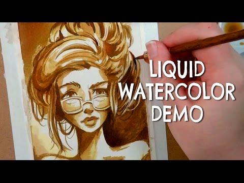 Liquid WATERCOLOR Demo + Single Color CHALLENGE!