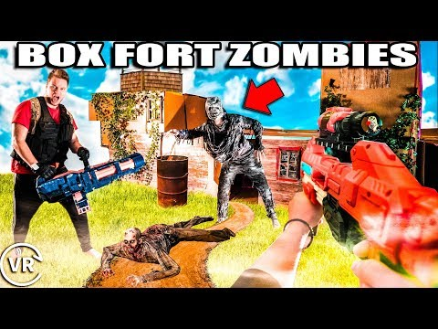 Box Fort ZOMBIES Nerf War Z - Worlds Biggest Zombie Fort! (VR 180)