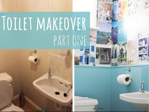 Toilet makeover part 1, magazine wallpaper