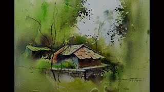 easy watercolor landscape painting by sikander singh chandigarh india