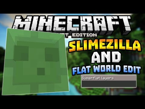 SLIMEZILLA & FLAT LAYER GUI In MCPE!!! - 0.14.0 Mod Review - Minecraft PE (Pocket Edition)