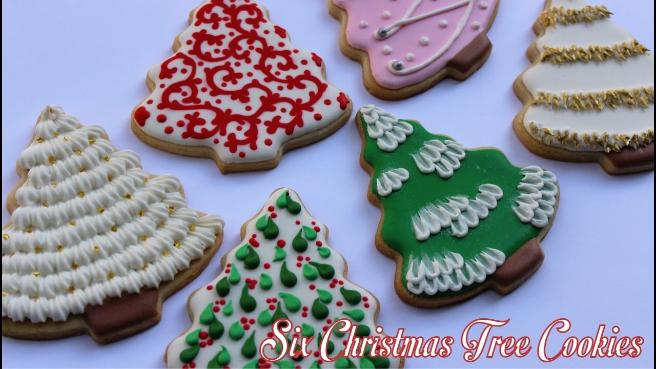 six different ways to decorate christmas tree cookies youtube