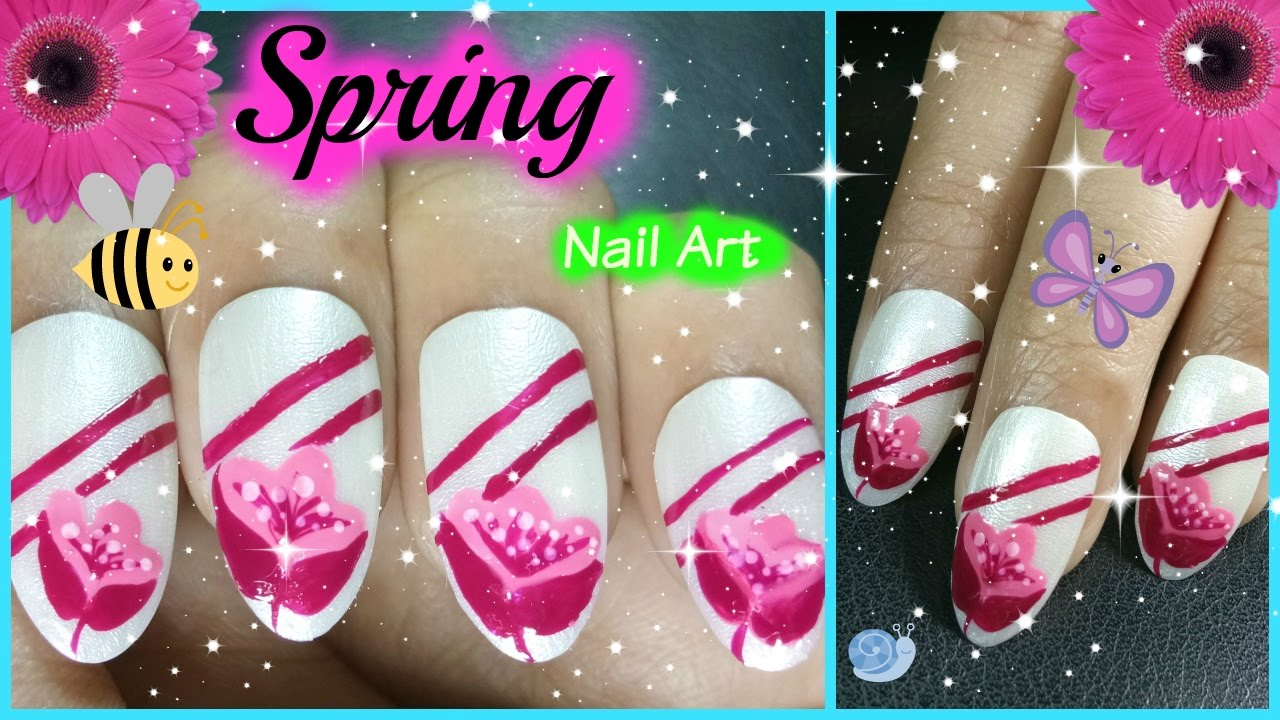 Spring Nail Designs 2017 - Pink Flower Nail Polish Colors Trends ...
