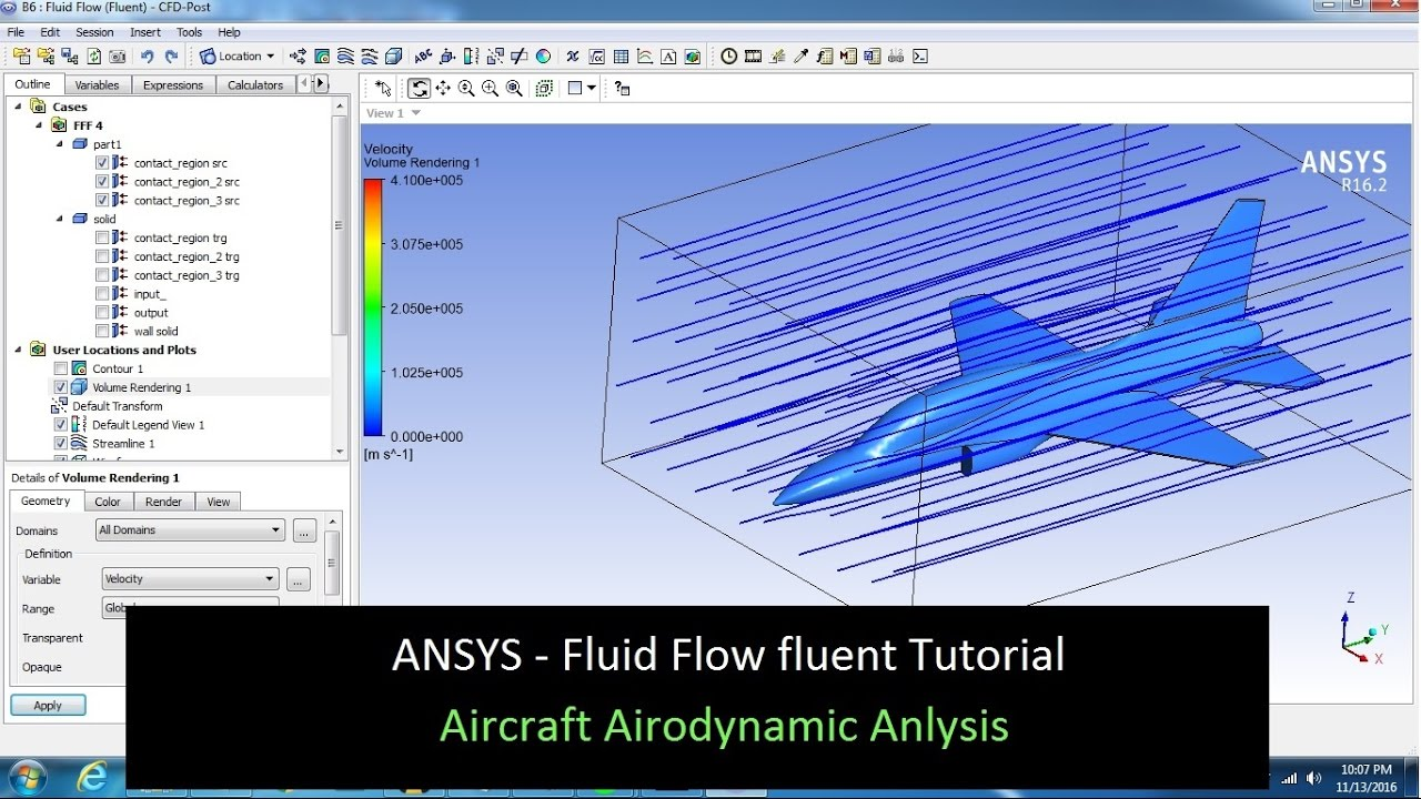 ANSYS Tutorial Fluid Flow Fluent Aircraft Aerodyamic Flow- 2018
