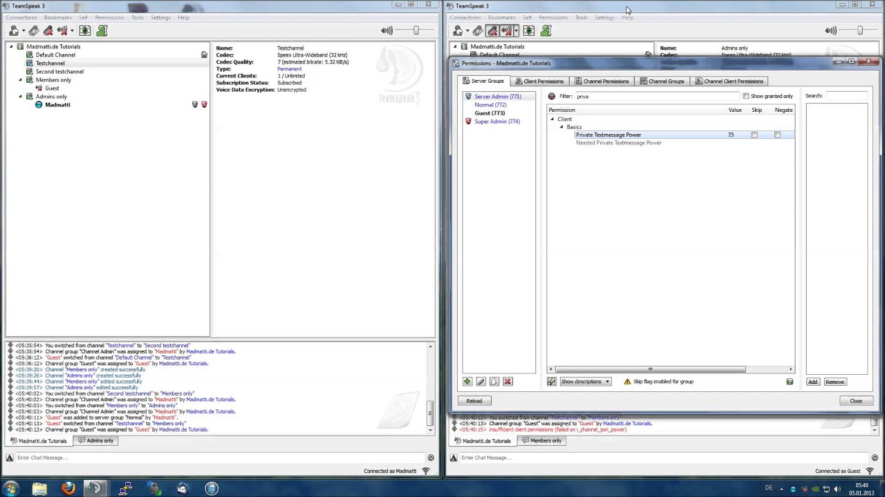 Teamspeak 3 Howto: Restricting Guest Permissions - YouTube
