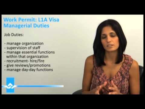 L1A Visa Mangerial Job Duties