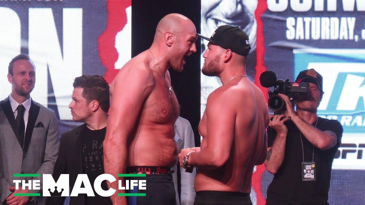 Tyson Fury Vs Tom Schwarz Weigh In Fury Fired Up