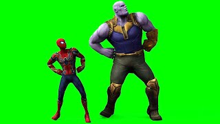 Spiderman and Thanos dancing green screen