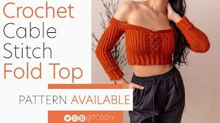 Crochet Long Sleeve Cable Stitch Fold Crop Top   Pattern & Tutorial DIY