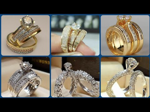 men's-&-women's-trio-diamond-engagement-ring-sets-14k-yellow-gold-and-white-gold-rings