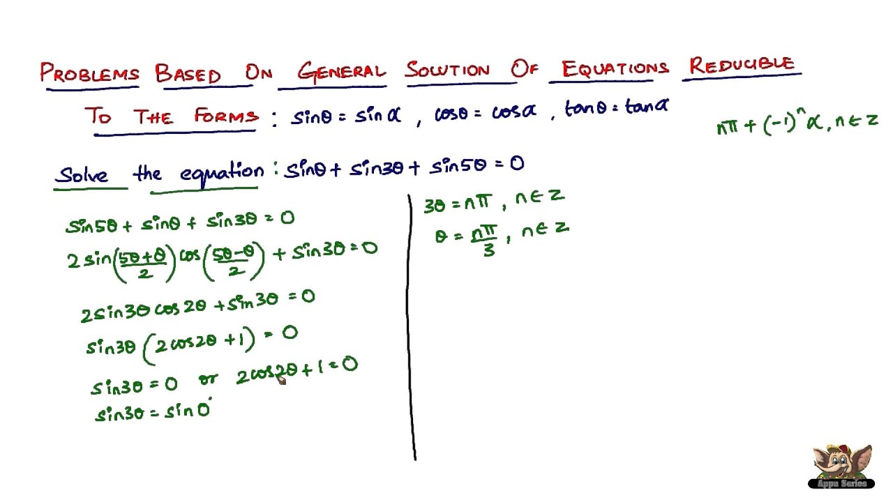 Solve problems based on general solutions of trigonometric ...