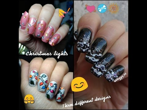 christmas lights nail art tutorial 3 different ideas