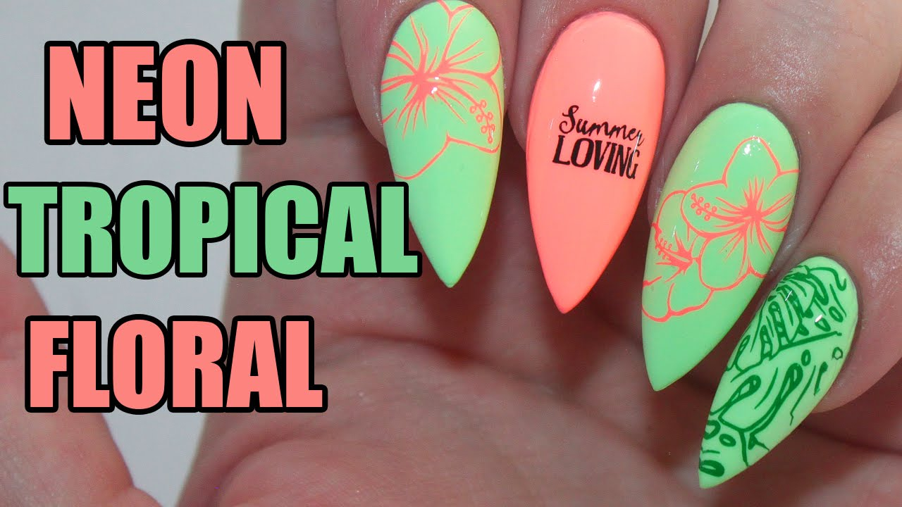 HOW TO: NEON TROPICAL FLORAL ACRYLIC NAILS TUTORIAL - YouTube