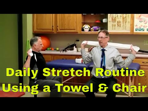 Daily Stretch Routine for Beginners Using a Towel and a Chair.