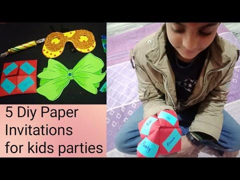 5 Diy Paper Kids Invitation Cards Cute Unique Creative