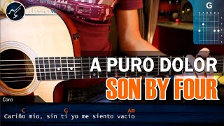 """Cómo tocar """"A Puro Dolor""""  de Son By Four en Guitarra Acústica COMPLETO (HD) - christianvib"""