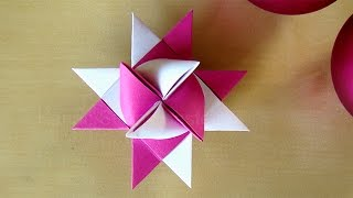 Fröbelstern basteln - Weihnachtssterne basteln mit Papier - Origami Stern basteln für Weihnachten