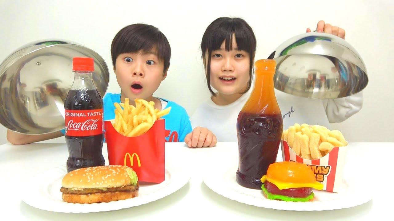 REAL FOOD VS GUMMY FOOD CHALLENGE Hamburger 젤리 초콜릿 챌린지 KOYA and NEMI