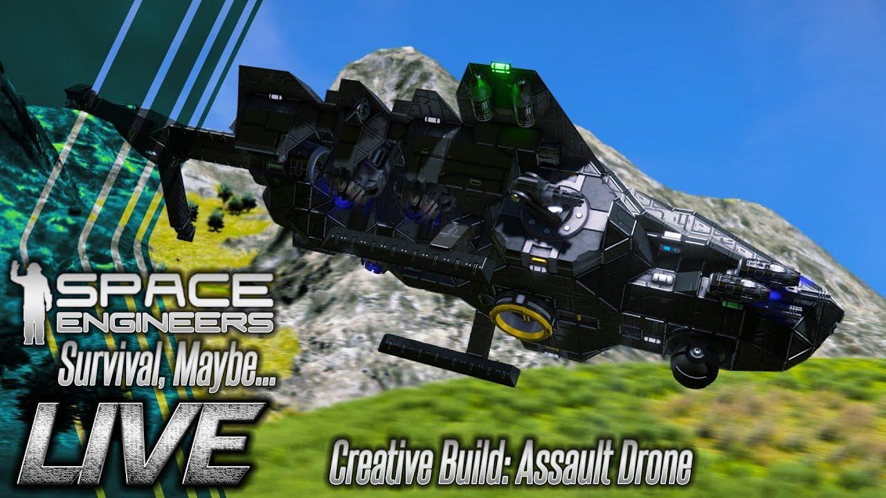 Space Engineers [LIVE] Birthday Stream Creative Building