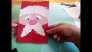 Как сделать из бумаги простую  открытку с Дедом Морозом на Новый год или Рождество