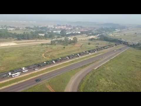 Aerial Footage of the truck drivers protest in Pretoria