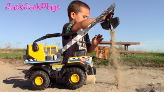 Construction Vehicles for Kids: Bulldozer Toy UNBOXING Tonka Crane Excavator Digging Playing Toys