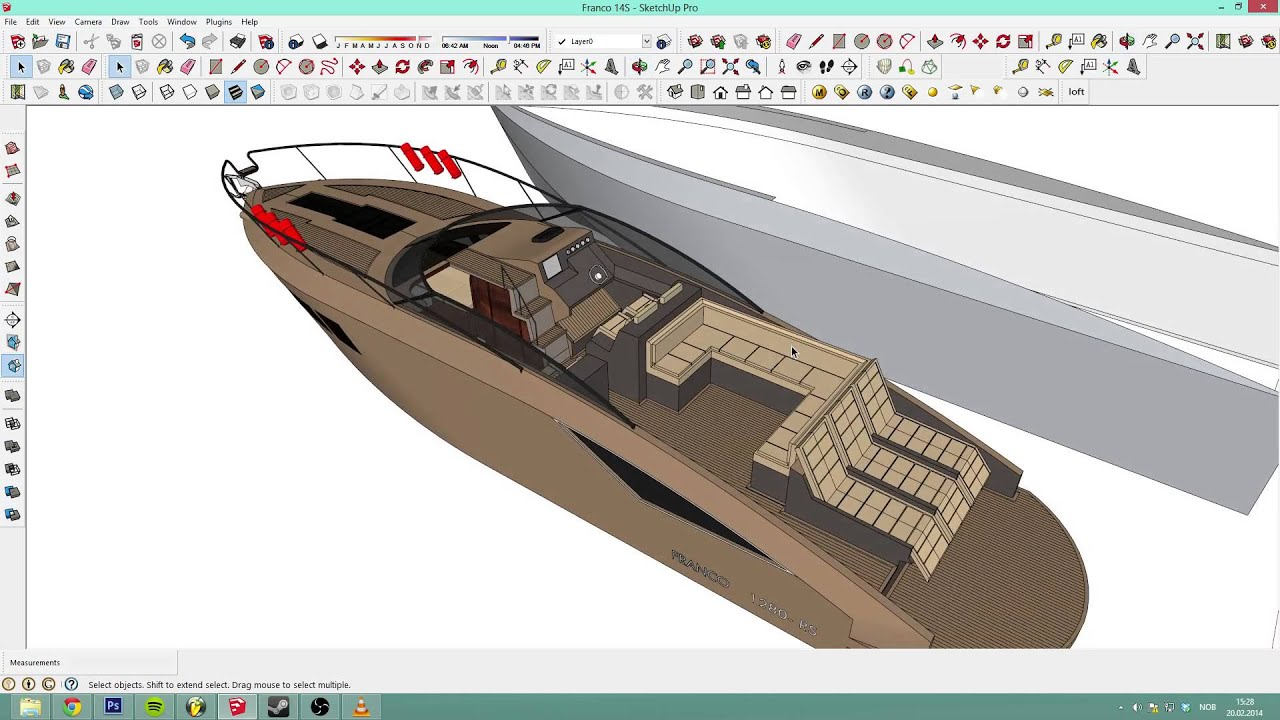Sketchup 2013 detailed boat tutorial with mic ep 2 for Sketchup 2013