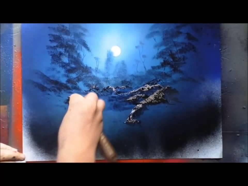 Spray paint art moonlit rocks by sprayart94 youtube for Creative spray paint ideas
