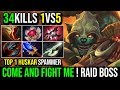 One Man Carry [Huskar] COME AND FIGHT ME RAID BOSS 34KIlls 1Vs5 By Huskar Spammer | Dota 2 Full Game