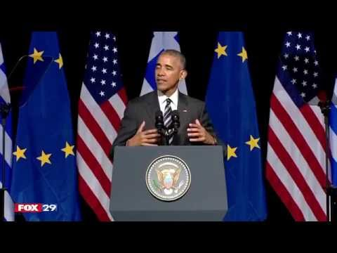 President Obama delivering a speech to the Greek people after visiting the Acropolis