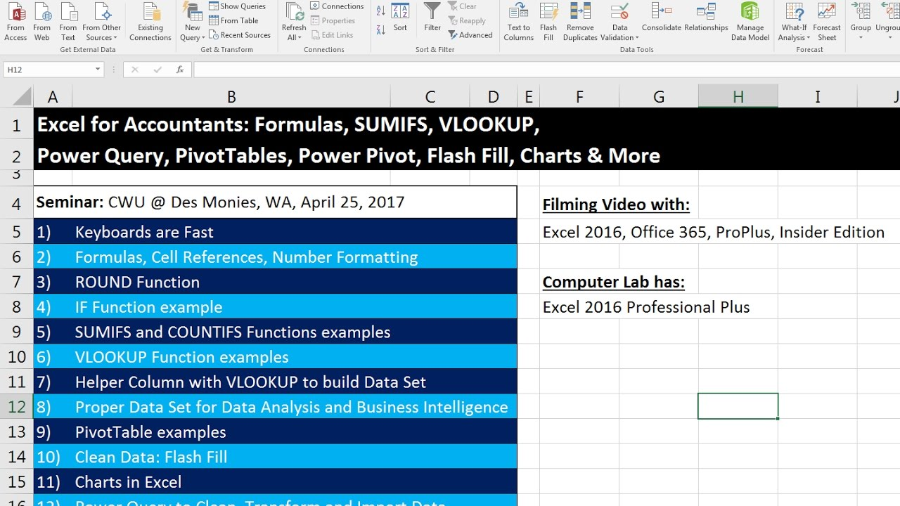 Excel for accountants pivottables power query if sumifs vlookup excel for accountants pivottables power query if sumifs vlookup flash fill chartscwu seminar ccuart Gallery