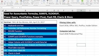 Excel for Accountants: PivotTables, Power Query, IF, SUMIFS, VLOOKUP, Flash Fill, Charts…CWU Seminar