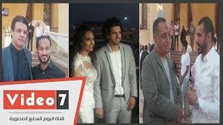 عمرو بركات لاعب الأهلى وعروسته كريمة إيهاب جلال قبل عقد قرانهما