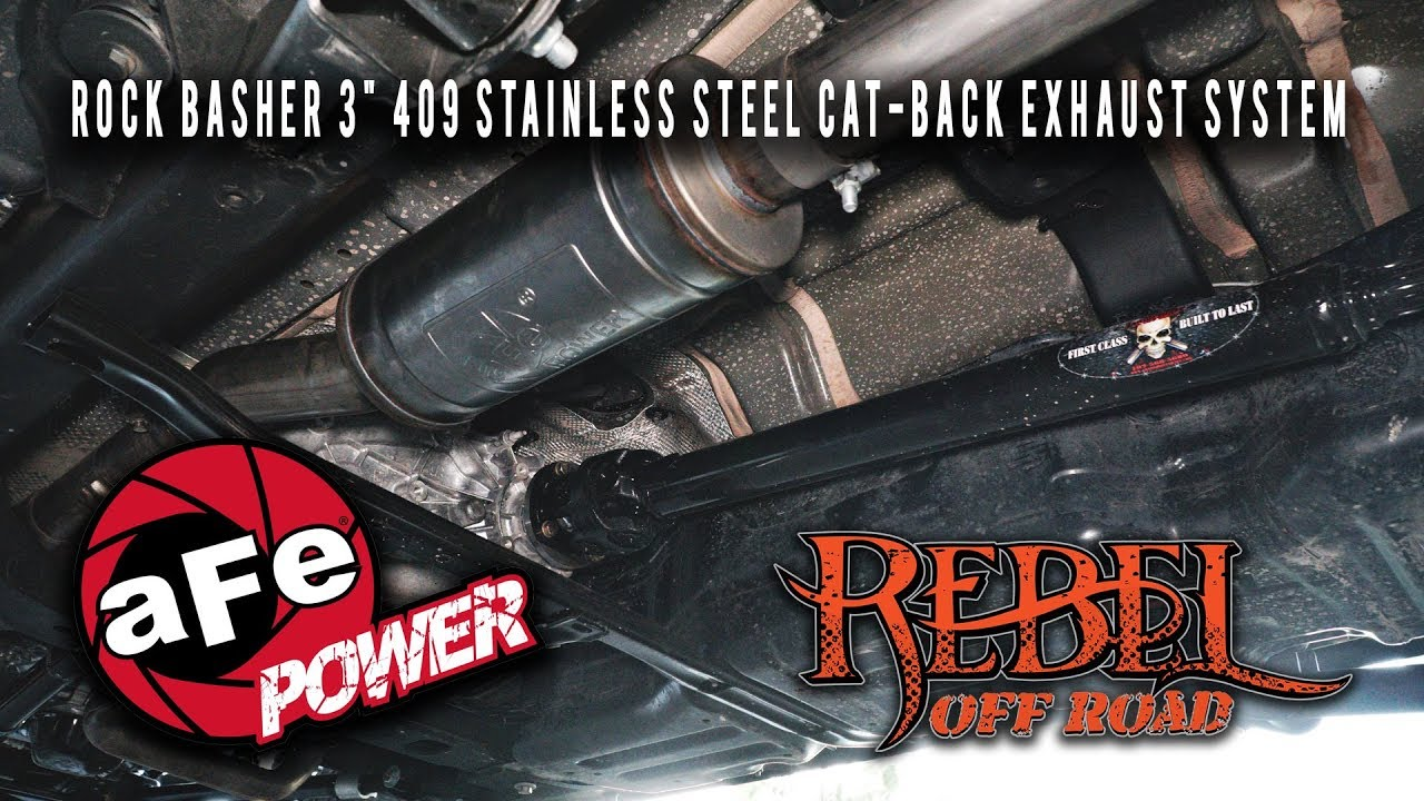 Afe 2018 Jeep Wrangler Jl Rock Basher 3 409 Stainless Steel Cat Back Exhaust System