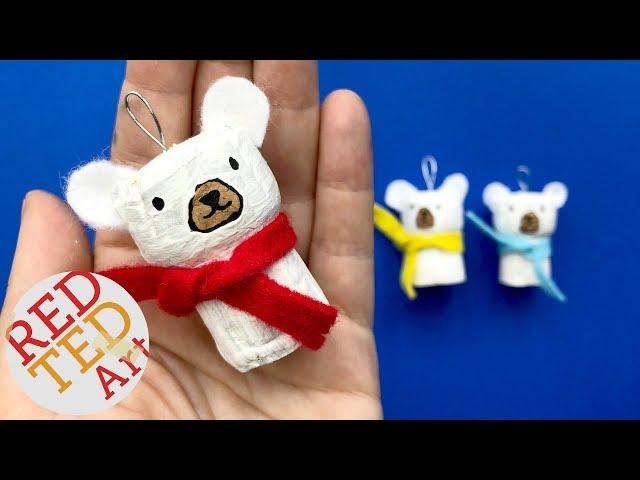 DIY Polar Bear Ornament - DIY Cork Ornaments for Christmas