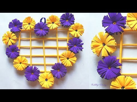 DIY Paper Heart Wall Hanging - DIY Paper Flower Wall Hanging - DIY Room Decor 2019