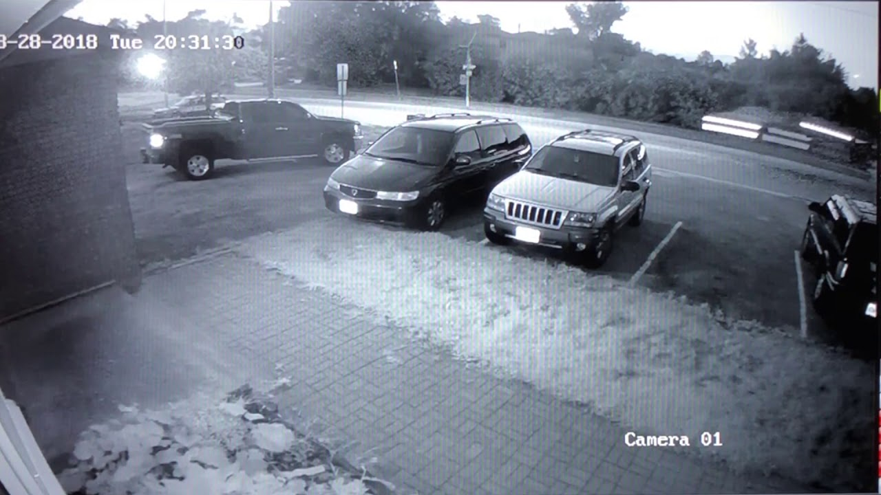 Security camera catches speeding Tesla going airborne after