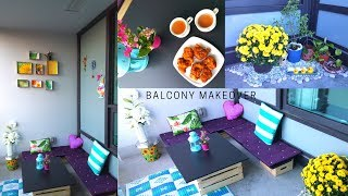 Budget Friendly Balcony Makeover with discarded furniture & dollar store products|DIY Bench,table