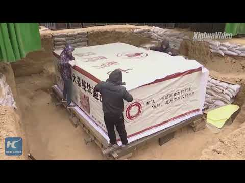 """A 16-ton ancient tomb is packaged and """"mailed"""" in Central China"""